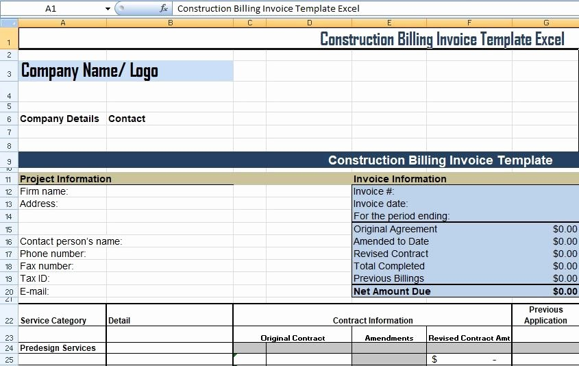 Construction Business Plan Template Word New Get Construction Billing Invoice Template Excel Xls – Excel Xls Templates