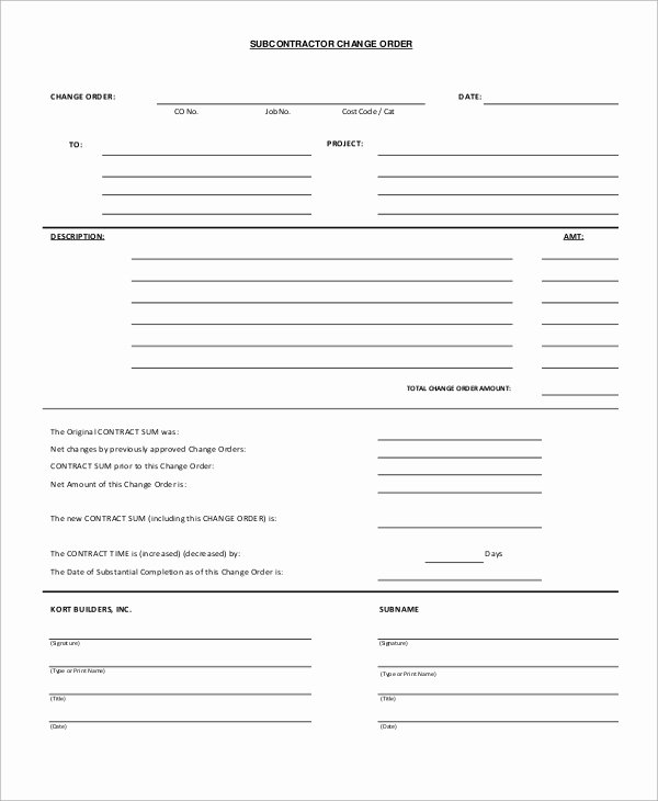Construction Change order Template Word Awesome Sample Change order form 12 Examples In Word Pdf