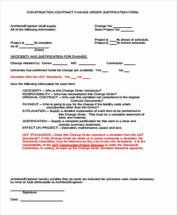 Construction Change order Template Word Awesome Sample Construction Change order form 7 Examples In