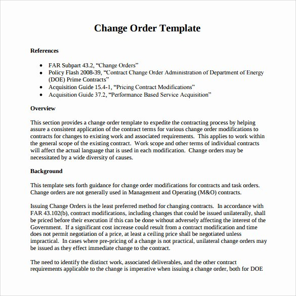 Construction Change order Template Word Beautiful Sample Change order – 11 Documents In Pdf Word