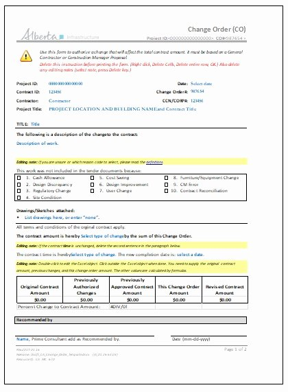 Construction Change order Template Word Elegant 3 Construction Change order Templates