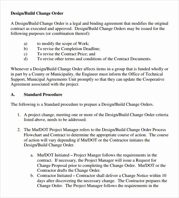 Construction Change order Template Word Elegant Sample Change order – 11 Documents In Pdf Word