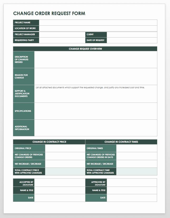 Construction Change order Template Word New 15 Free Work order Templates