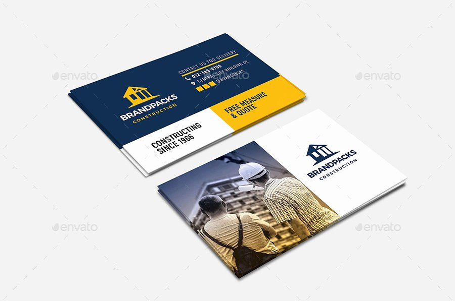 Construction Company Business Cards Elegant 18 Construction Business Card Designs and Examples Psd Ai