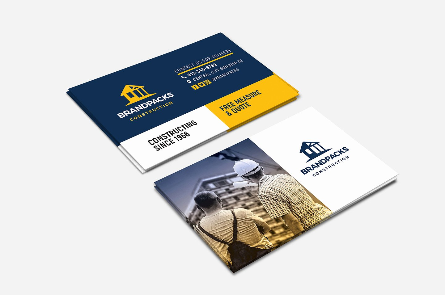 Construction Company Business Cards Elegant Construction Pany Business Card Template In Psd Ai & Vector Brandpacks
