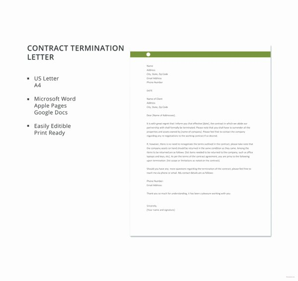 Construction Contract Termination Letter Awesome 20 Contract Termination Letter Templates Pdf Doc