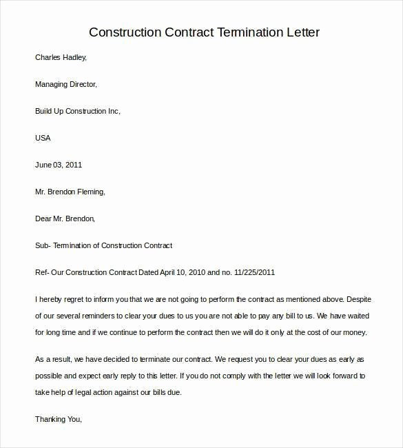 Construction Contract Termination Letter Elegant 21 Contract Termination Letter Templates Pdf Doc Apple Pages Google Docs