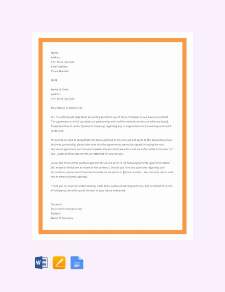 Construction Contract Termination Letter Inspirational 21 Contract Termination Letter Templates Pdf Doc Apple Pages Google Docs