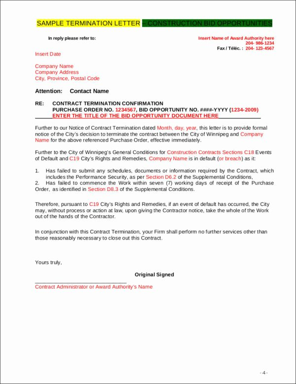 Construction Contract Termination Letter Lovely Free 39 Free Termination Letter Samples & Templates In Word