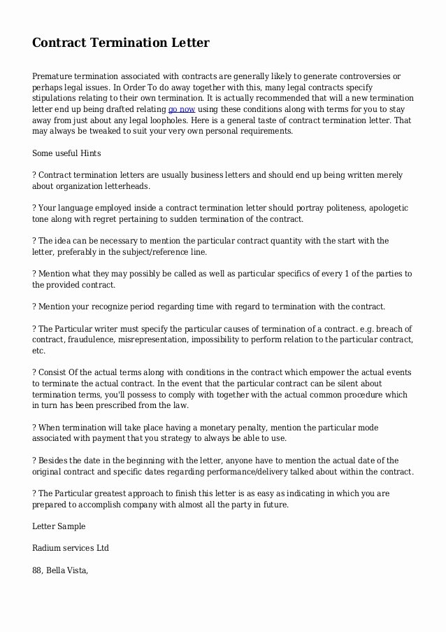 Construction Contract Termination Letter New Contract Termination Letter