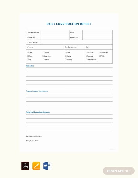 Construction Daily Report Template Awesome Free Daily Construction Report Sample Template Download 538 Reports In Word Pdf Apple Pages
