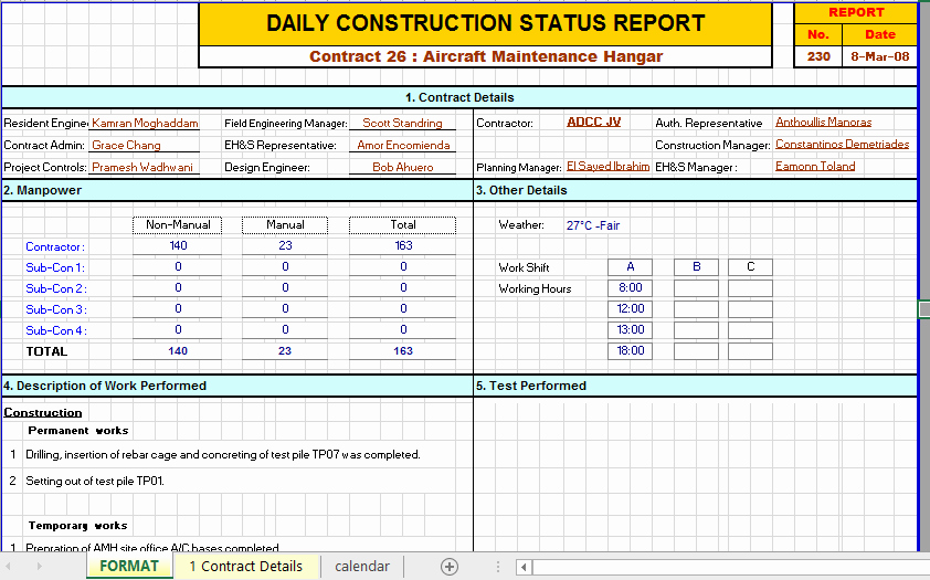 Construction Daily Report Template Elegant Construction Daily Report Template Excel
