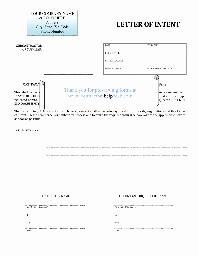 Construction Letter Of Intent Template Awesome Contractors Help Desk forms