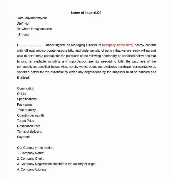 Construction Letter Of Intent Template Beautiful Free Intent Letter Templates 18 Free Word Pdf Documents Download