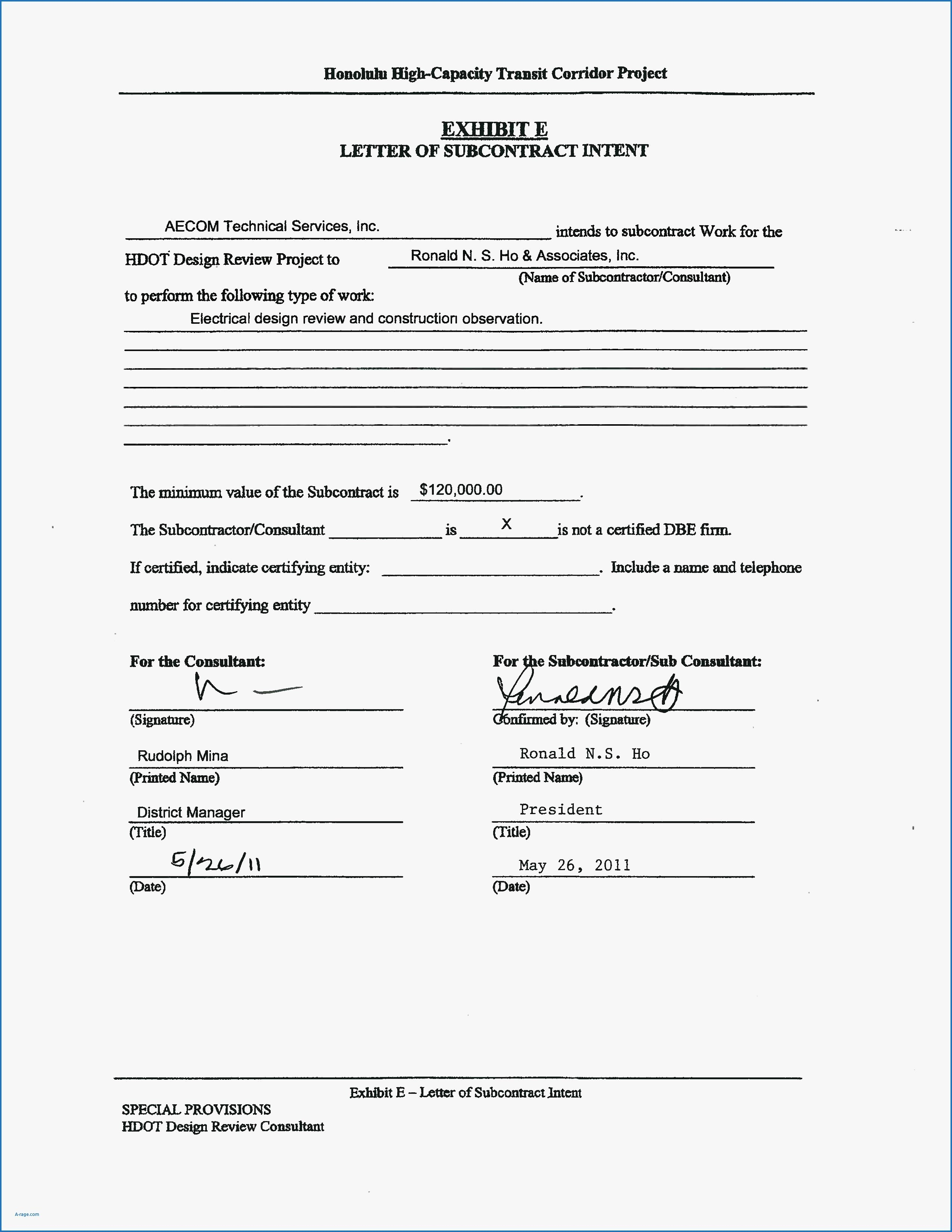 Construction Letter Of Intent Template Elegant Subcontractor Letter Intent Template Samples