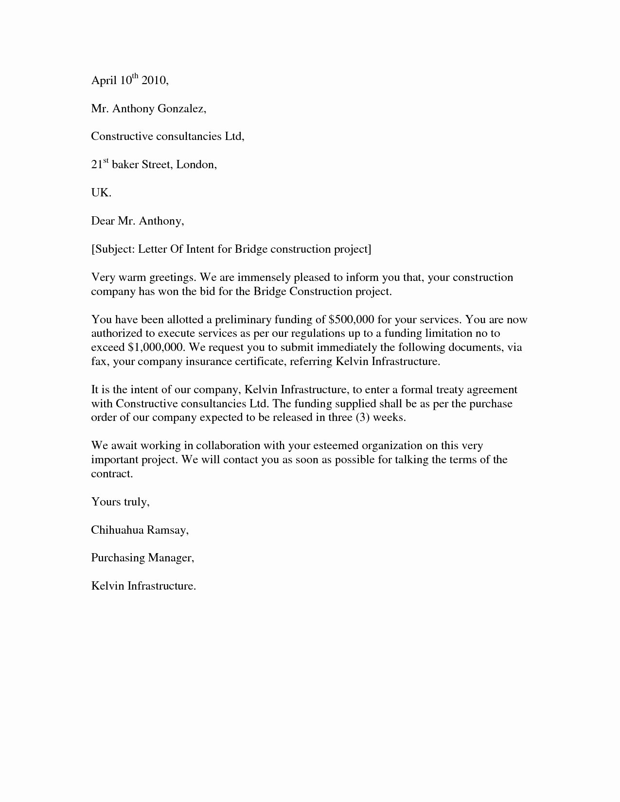 Construction Letter Of Intent Template Fresh Subcontractor Letter Intent Template Examples