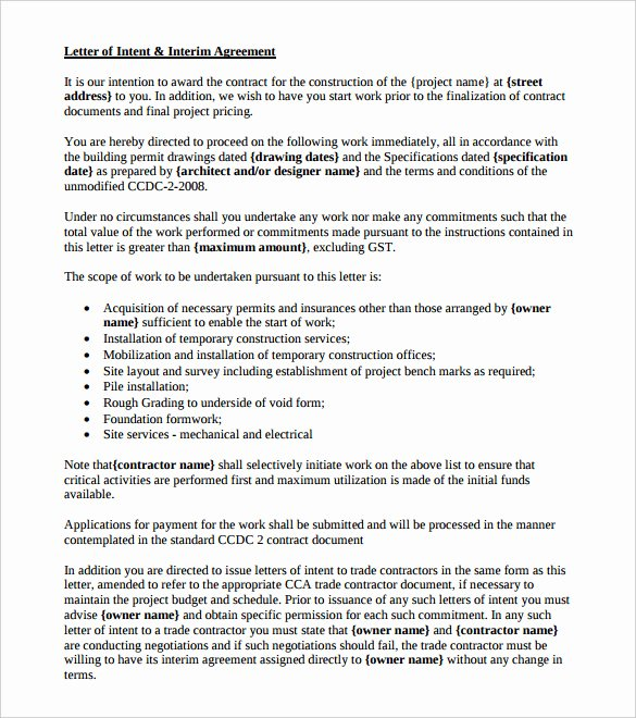 Construction Letter Of Intent Template Lovely Free Intent Letter Templates 18 Free Word Pdf Documents Download