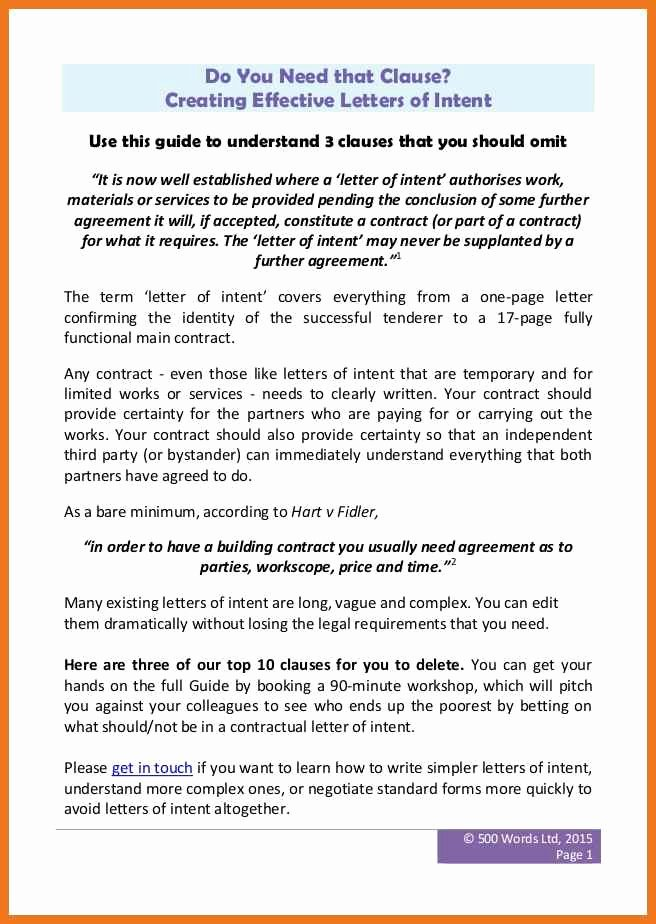 Construction Letter Of Intent Template Luxury 4 5 Construction Letter Of Intent
