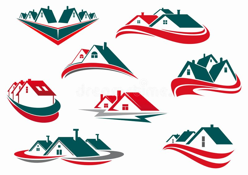 stock illustration real estate house icons symbols business construction logo design green red roofs waves image
