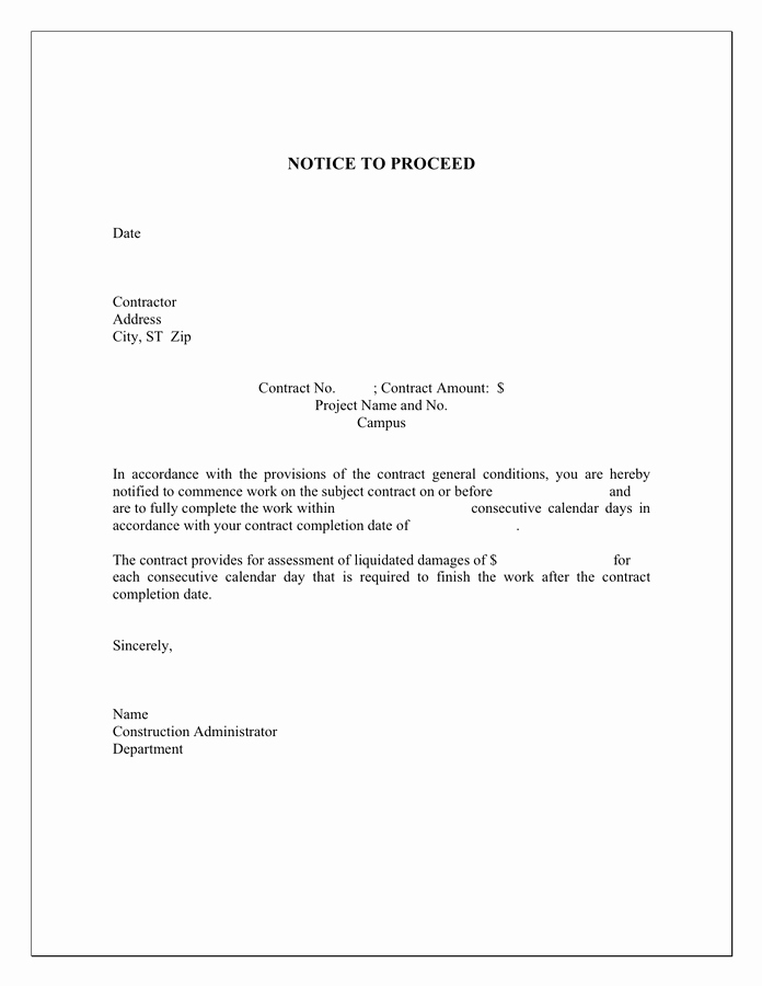 Construction Notice to Proceed Awesome Notice to Proceed Template In Word and Pdf formats