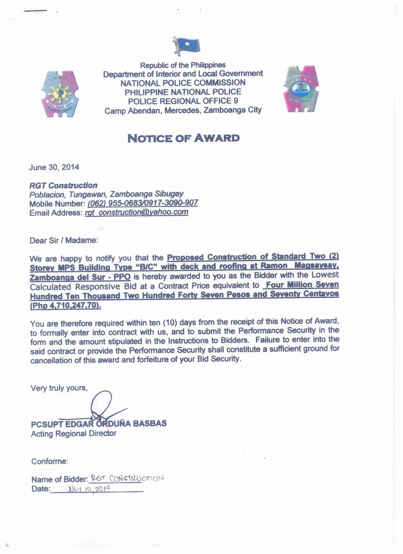 Construction Notice to Proceed Best Of Notice Of Award and Notice to Proceed Construction Of Ramon Magsaysay Mps