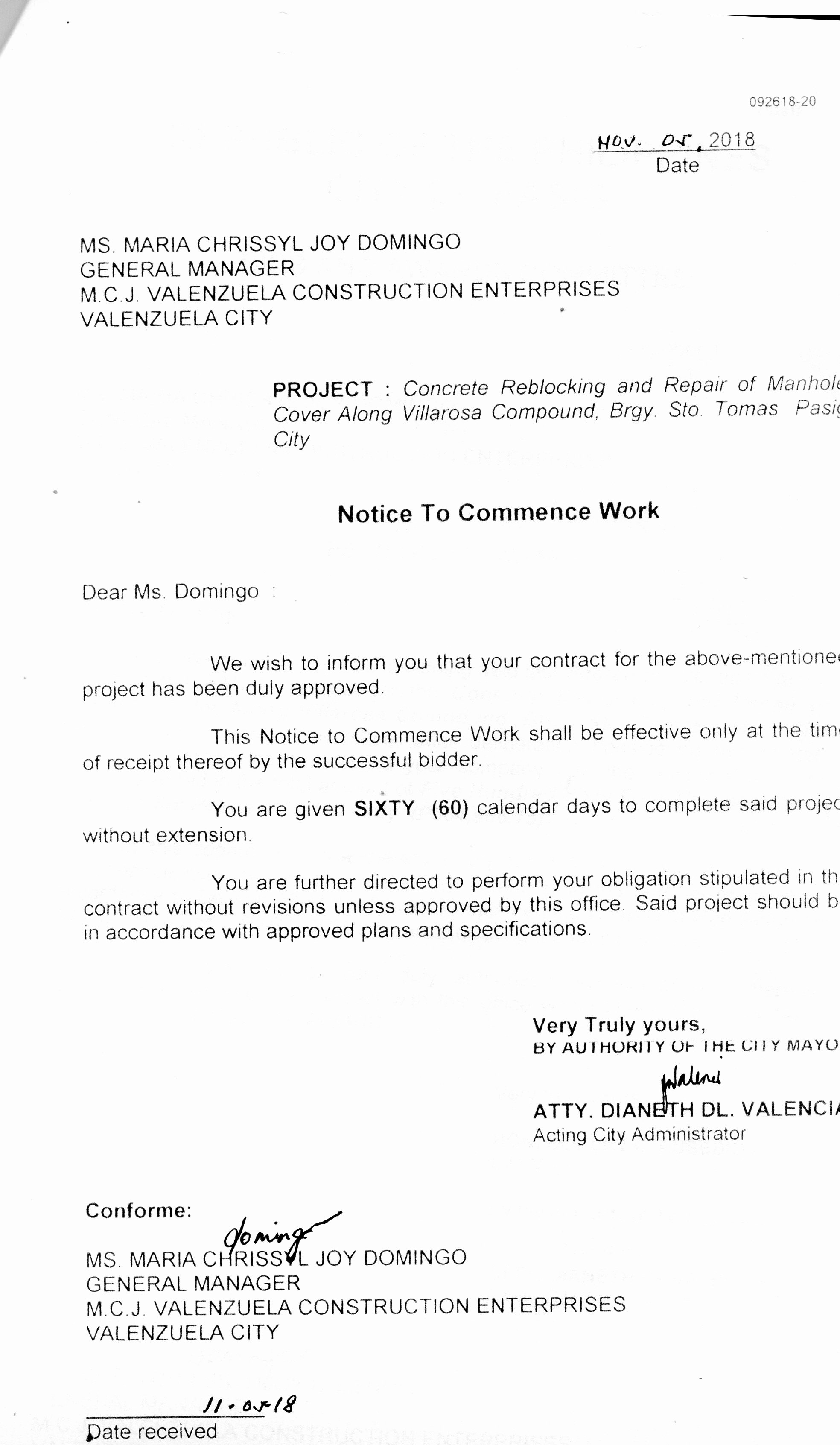 Construction Notice to Proceed Luxury Pasig City