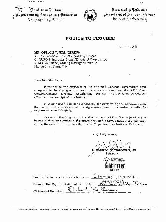 Construction Notice to Proceed Unique Travp34