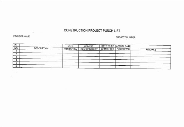 Construction Punch List form Beautiful Punch List Template 8 Free Word Excel Pdf format Download