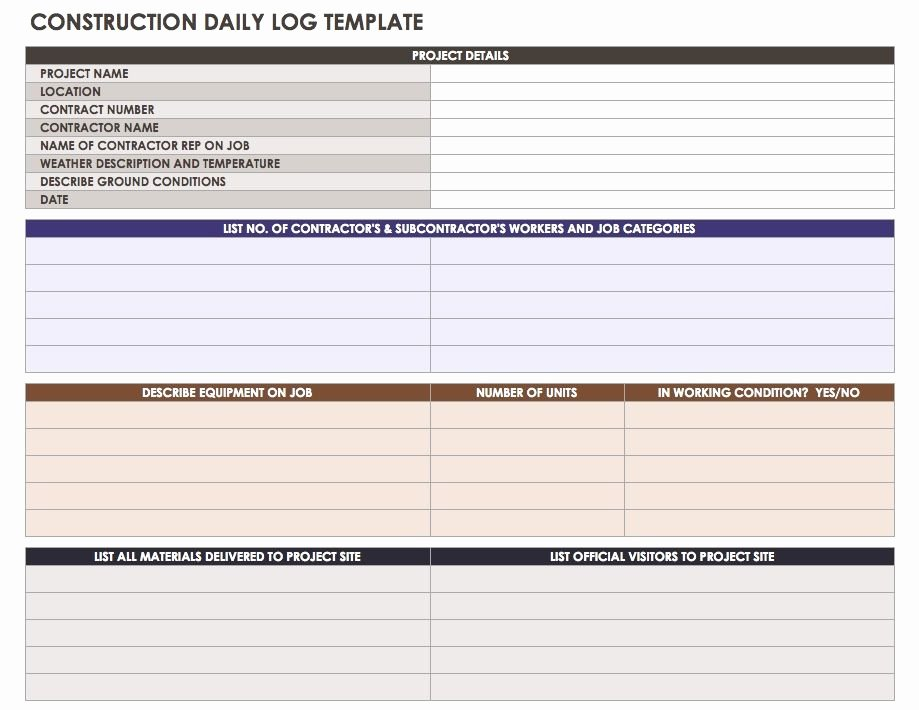 Construction Punch List form Luxury Daily Log Template for Construction – Printable Schedule Template