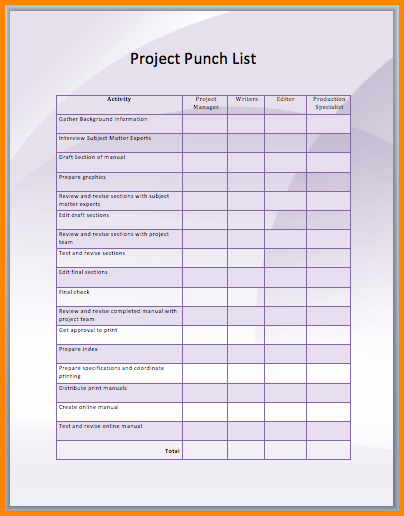Construction Punch List Sample Awesome Punch List form – Emmamcintyrephotography