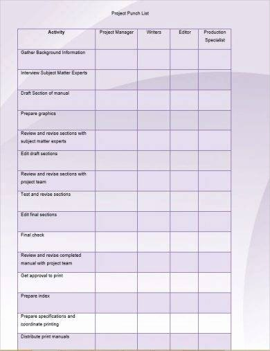 Construction Punch List Sample Elegant 6 Punch List Examples Pdf