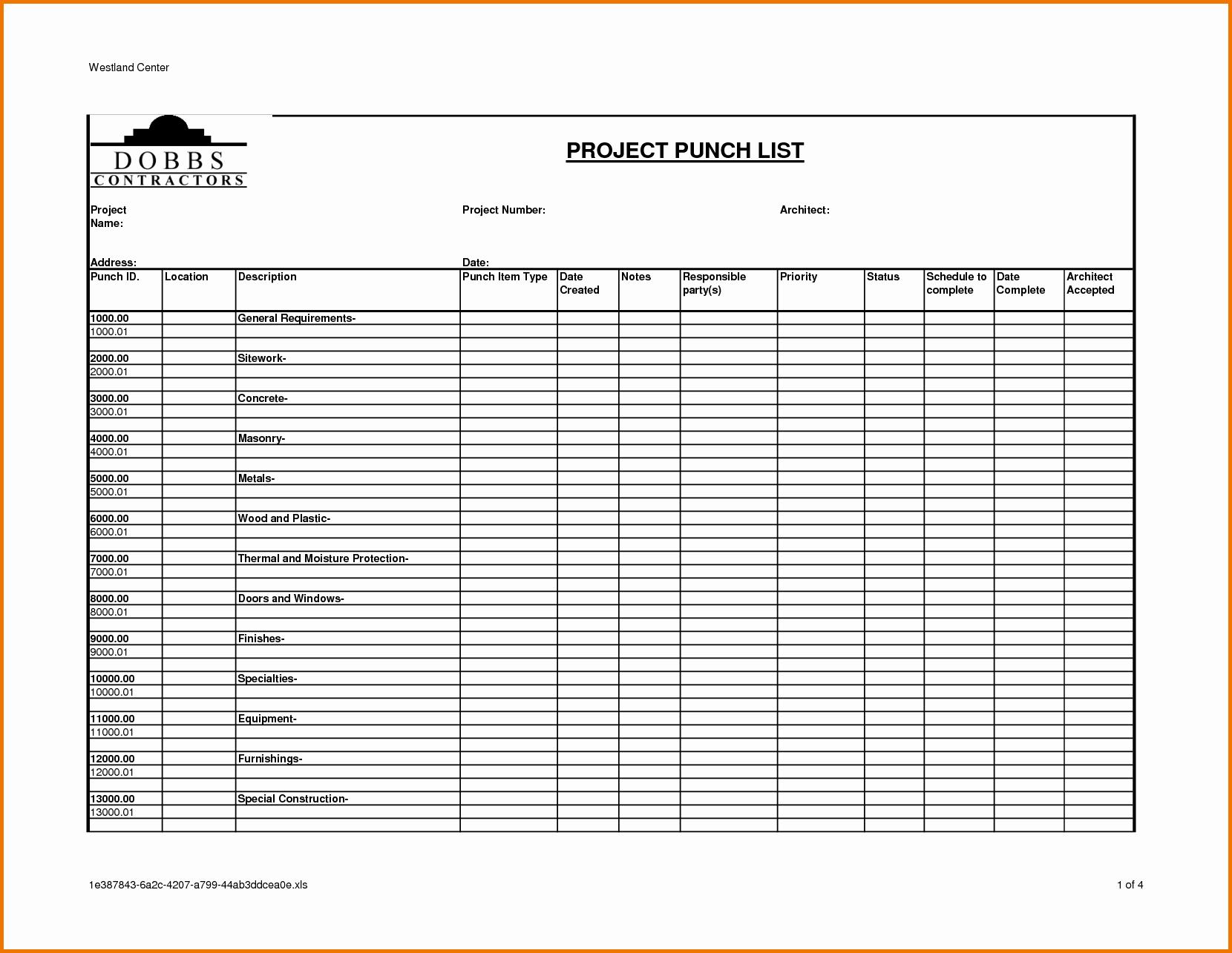Construction Punch List Template Unique Construction Punch List Template – Emmamcintyrephotography