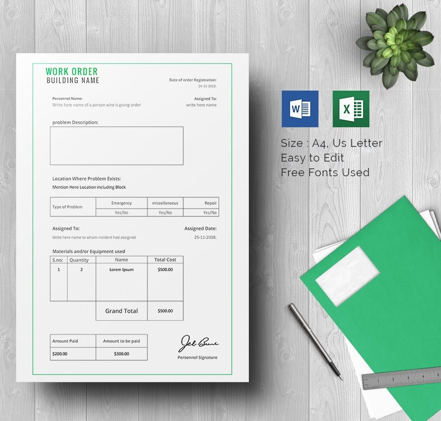 Construction Work order Template Awesome Work order Template 23 Free Word Excel Pdf Document Download