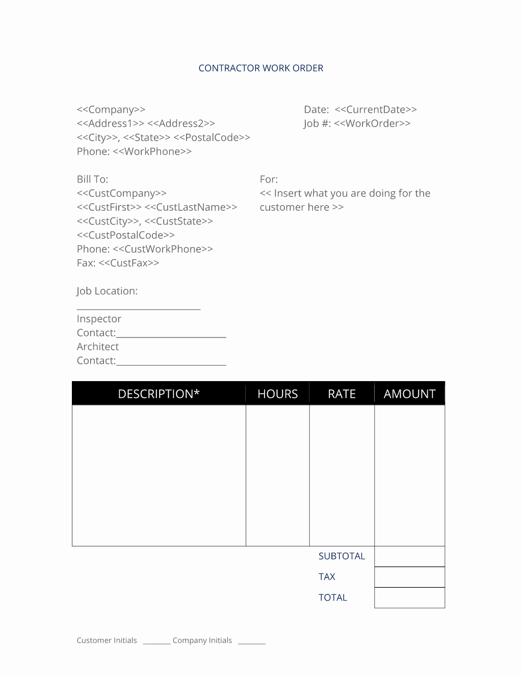 Construction Work order Template Lovely General Contractor Work order 3 Easy Steps