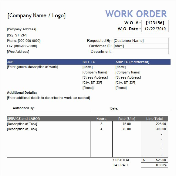 Construction Work order Template New Work order Template 16 Download Free Documents In Pdf Word