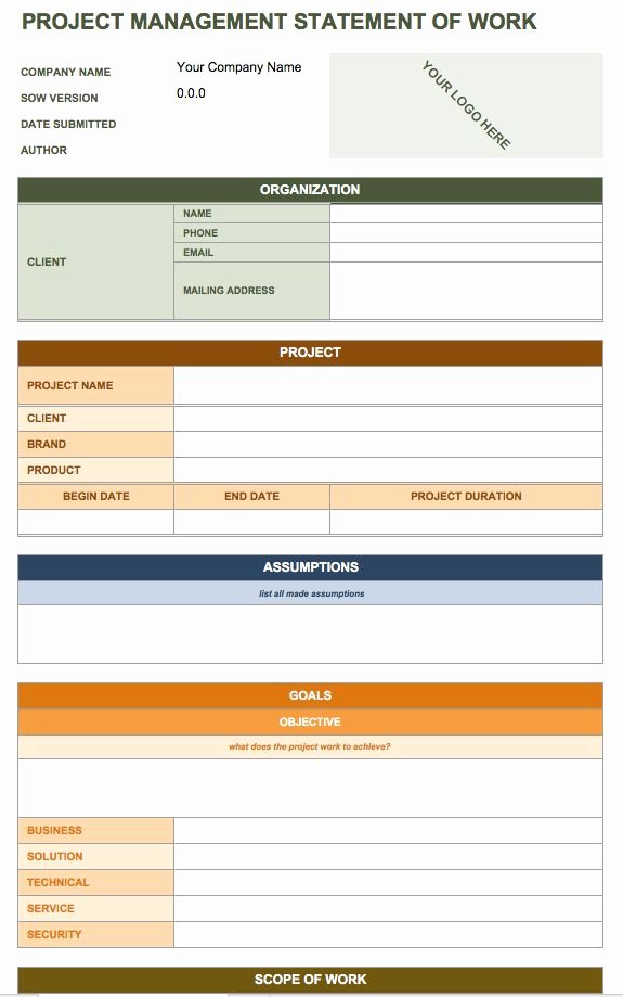 Consultant Scope Of Work Template Inspirational Free Statement Of Work Templates Smartsheet