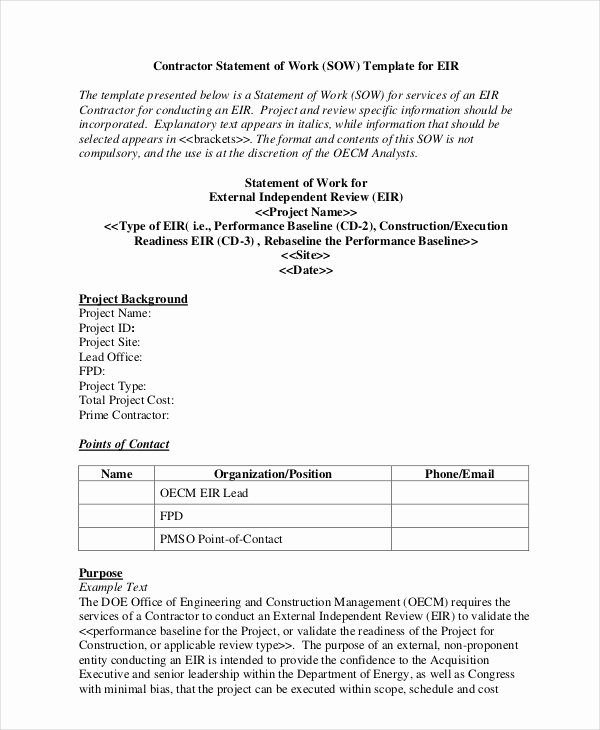 Consultant Scope Of Work Template Inspirational Statement Of Work Template 13 Free Pdf Word Excel Documents Download