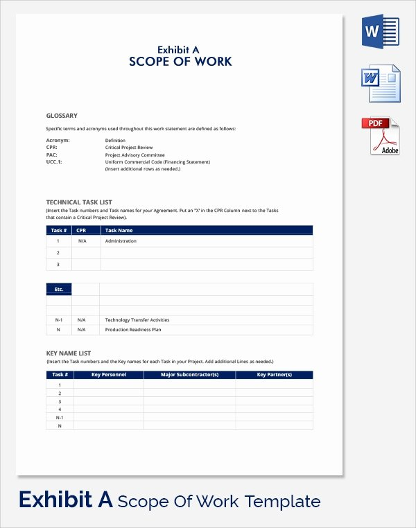 Consultant Scope Of Work Template New Free 21 Sample Scope Of Work Templates In Pdf Word