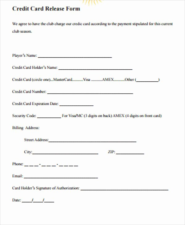 Consumer Credit Application form Awesome Sample Credit Release form 6 Examples In Word Pdf