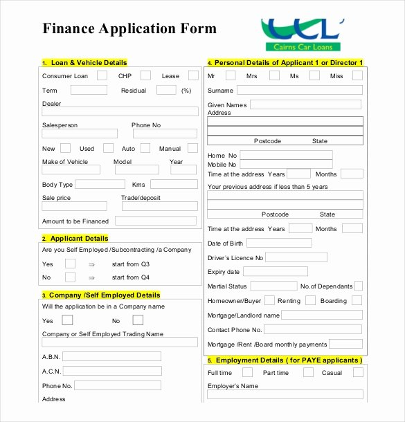 Consumer Credit Application form Fresh 10 Loan Application Templates Pdf Doc