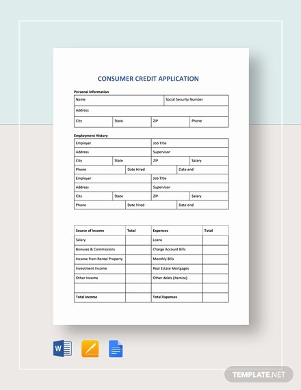 Consumer Credit Application form Fresh Credit Application Template 33 Examples In Pdf Word Google Docs Apple Pages