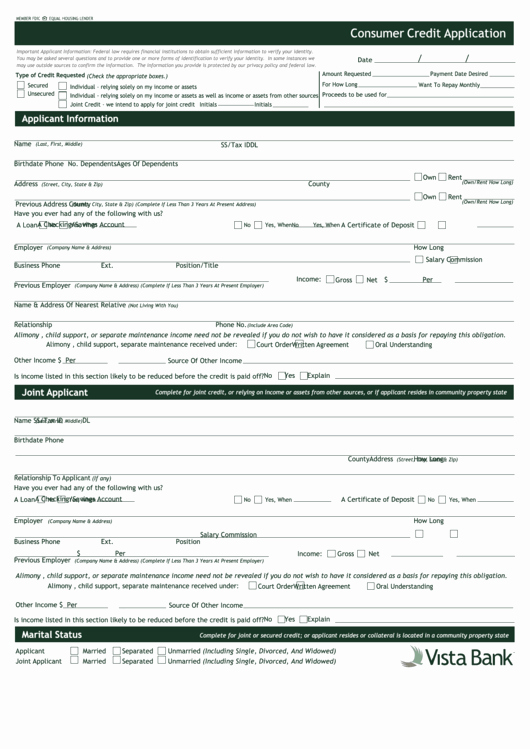 Consumer Credit Application form New Fillable Consumer Credit Application Vista Bank Printable Pdf