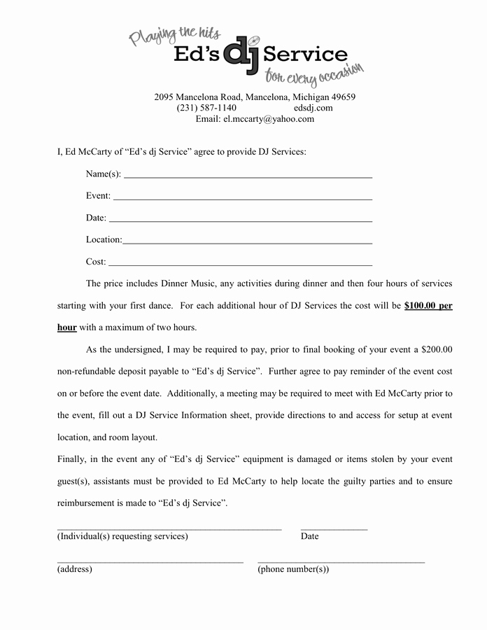 Contract for Dj Services Awesome Dj Services Contract In Word and Pdf formats