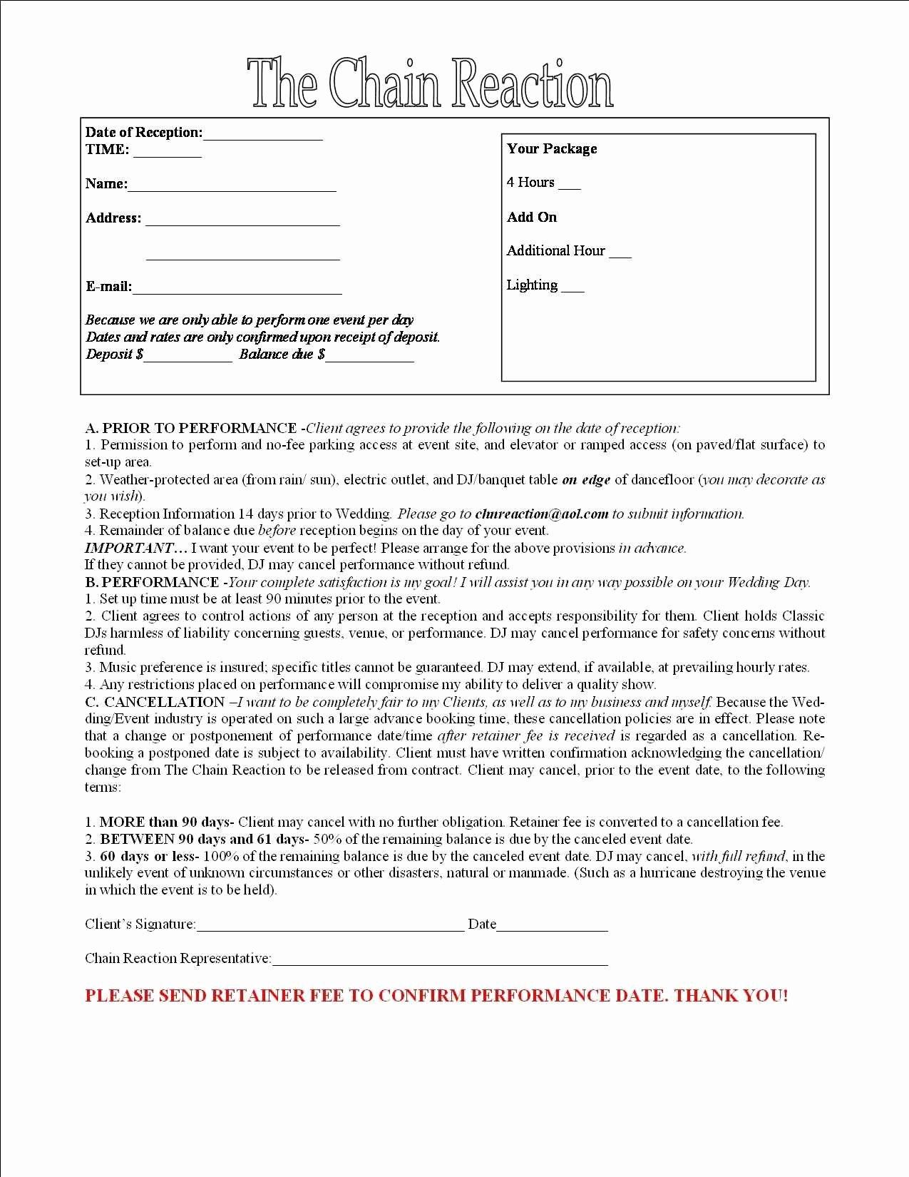 Contract for Dj Services Best Of Layaway Agreement Template original Wedding Dj Contract Layaway Contract Template 100 Dj Ei