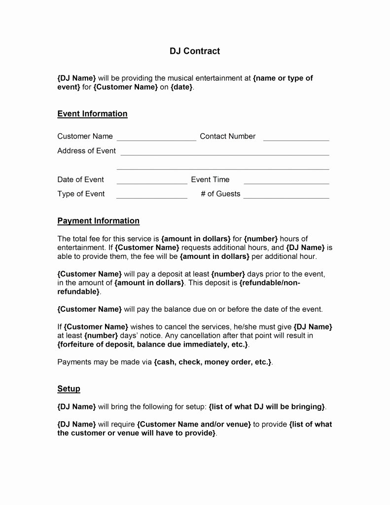 Contract for Dj Services Elegant Dj Contract Template Free Microsoft Word Templates