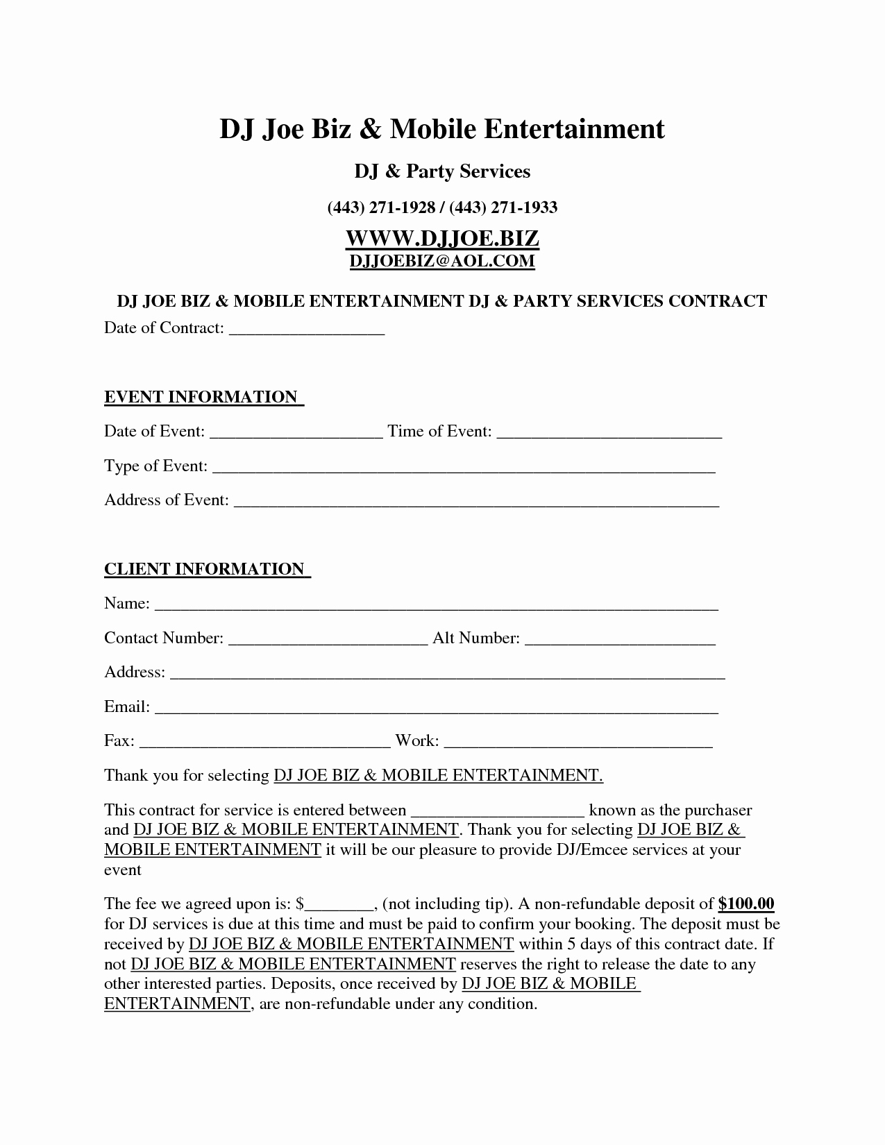 Contract for Dj Services Inspirational Dj Contract Template Invitation Templates D J Contracts Real State