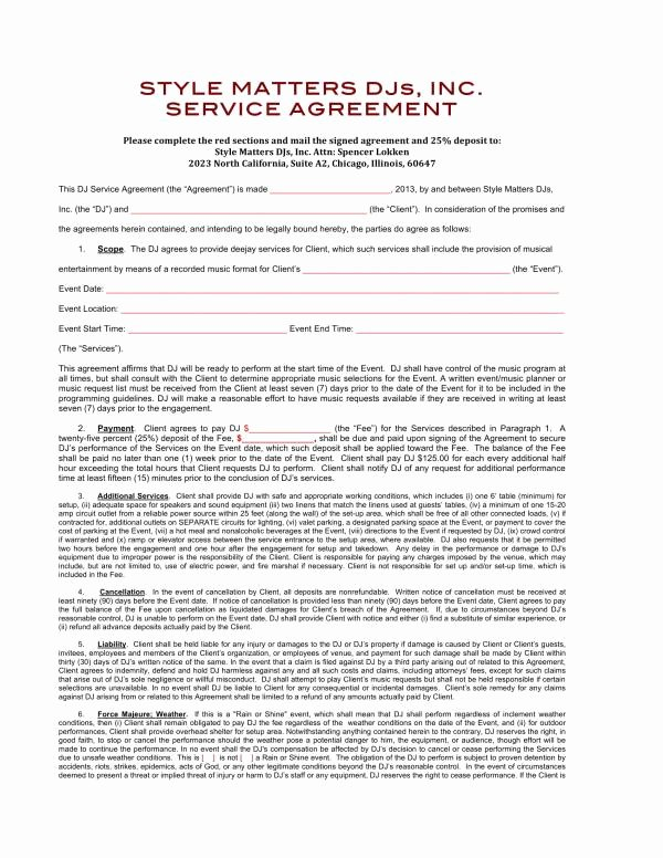 Contract for Dj Services Luxury 12 Dj Service Contract Template Pdf Word
