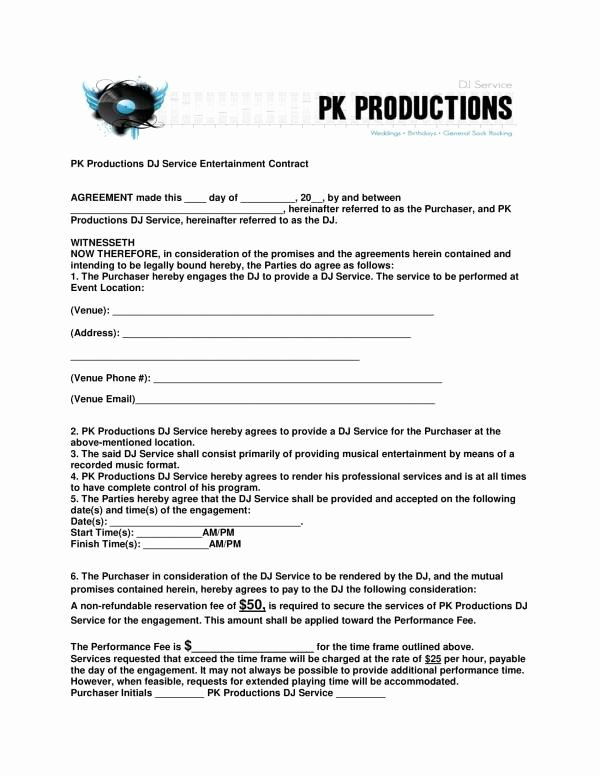 Contract for Dj Services New 12 Dj Service Contract Template Pdf Word