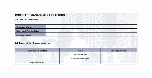 Contract Management Template Excel Best Of Contract Tracking Template 9 Free Word Excel Pdf Documents Download