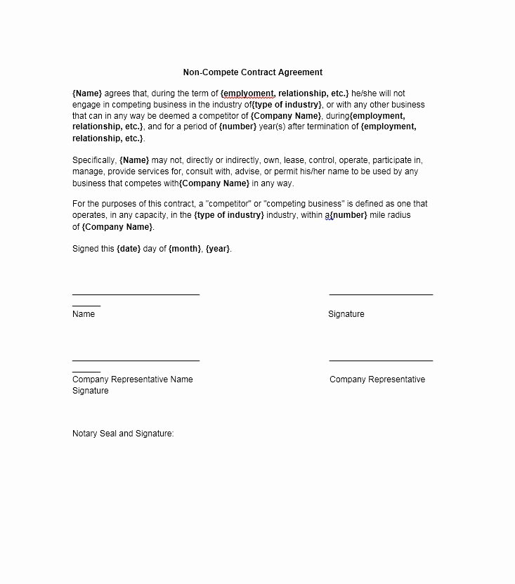 Contractor Non Compete Agreement Template Beautiful 39 Ready to Use Non Pete Agreement Templates Template Lab